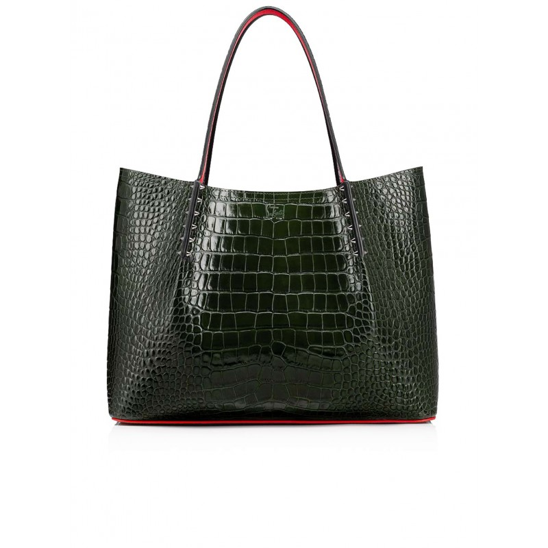 CHRISTIAN LOUBOUTIN 3205231 E456 GREEN COCCO PRINTED LEATHER CABAROCK LARGE TOTE
